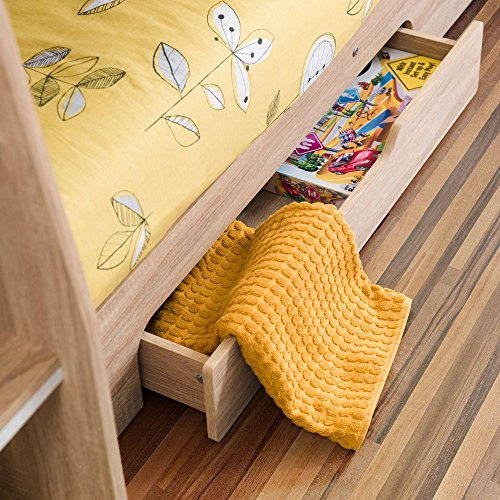 Happy Beds Wooden Bunk Bed with Underbed Storage Drawer, Orion Oak Wood Modern Twin Sleeper - 3ft Single (90 x 190 cm) with 2 x Memory Foam Mattresses Included