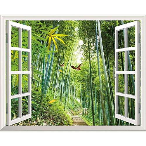 Preisvergleich Produktbild YUELA Poster Aufkleber creative Fake window_Wohnzimmer 3D-warmen Selbstklebende Tapete Zimmer ornament Sticker creative fake Fenster,  Bambus reim Produkt