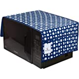 Kuber Industries Polka Dots Design PVC Microwave Oven Top Cover with Utility 4 Pockets (Blue) CTKTC33189_FBA