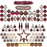 100ct Christmas Tree Decorations Full Set ITART Christmas Baubles Ornaments Assorted Ornaments Including Topper, Snowflakes, Beads, Tinsel, Mini Gife Boxes, Pine Cones, Teardrop (Burgundy Brown Champagne)