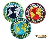 Club-of-Heroes 3er-Set/Save The Planet/Stick Abzeichen Zum Schutz von Natur, Umwelt, Klima, Ozeane, Erde/Klimaschutz, Nachhaltigkeit/Applikation, Aufnäher, Aufbügler, Bügelbild, Patch/Rund