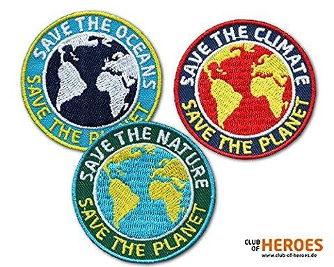 3er-Set Stick-Abzeichen / Save the Planet / Naturschutz, Klimaschutz, Schutz der Ozeane / Umwelt Patches für Kleidung, Rucksack, Schultasche / Applikation, Aufnäher, Aufbügler, Aufkleber, Flicken, Sticker, Bügelbild / rund