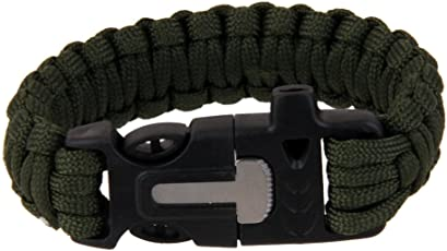 Electomania Outdoor Paracord Bracelet with Flint Fire Starter Scraper Whistle (Army, 54000255MG)