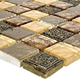 Glas Naturstein Mosaik Fliesen Maya Gold