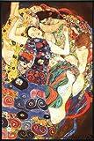 Gustav Klimt Poster Die Jungfrau (93x62 cm) gerahmt in: Rahmen schwarz