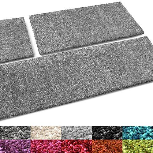 casa pura® Bettumrandung Cosy | Bettvorleger Set 3 teilig für Schlafzimmer | in vielen Trendfarben | waschbar | Hochflor Teppich Läufer, kuschelig weich (hellgrau)