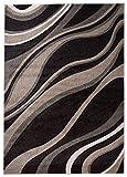 Großer XXL Moderner Designer Teppich - Dichter Und Dicker Flor - Braun - 240 x 330 cm - Abstraktes Wellen Muster - 3d-Effekt Konturenschnitt - Strapazierfähig Robust Pflegeleicht - Oeko-Tex Zertifikat