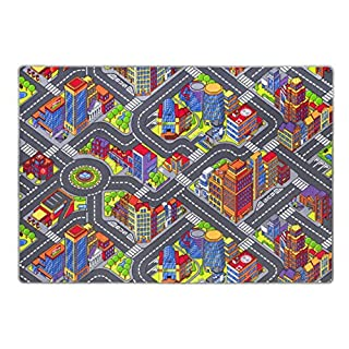 Andiamo Kids roadmap Game City, soft children street carpet, fun play mat in a big village design, GUT/prodis approved, Size:140 x 200 cm