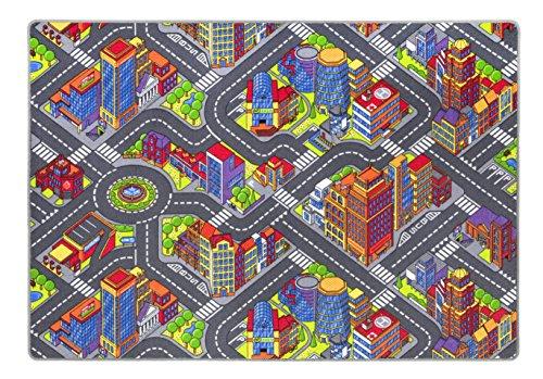 Kinderteppich Game City einer der beliebtesten Spielteppiche mit Straßenmotiv sorgt für viel Spaß für Jungen und Mädchen, in diversen Größen erhältlich, Größe:200 x 200 cm