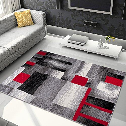 Alfombra De Salón Moderna - Color Gris Negro Rojo De Diseño Geométr