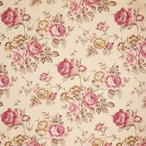 Fabulous Fabrics Dekostoff Ottoman Rosen - Hellbeige - Meterware ab 0,5m - zum Nähen von Kissen, Tischdecken und Stühle - Baumwolle Stoff Stuhl