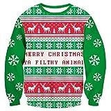 Loveternal Weihnachten Pullover Unisex Muerte 3D Druck Xmas Long Sleeve Tops Merry Christmas Langarm Kostüm XXL
