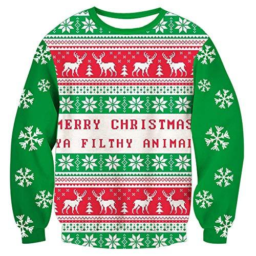 Loveternal Weihnachten Pullover Unisex Muerte 3D Druck Xmas Long Sleeve Tops Merry Christmas Langarm Kostüm ()