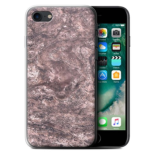 Stuff4 Gel TPU Hülle / Case für Apple iPhone X/10 / Frühlingsblumen Muster / Rosa Mode Kollektion Düsteren Marmor