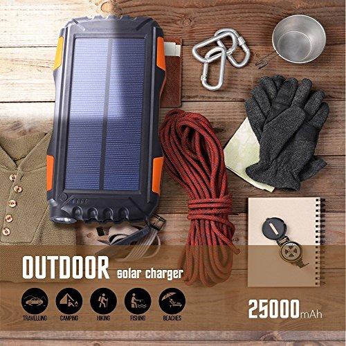 Eignet High Capacity 25000mAh Solar Power Bank for Trekking, Climbing, Tour, Journey, Trips (Orange) Image 7