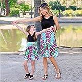 MCYs Mutter und Tochter Baby Kinder Kind Mädchen Print Sommerkleid ärmelloses Blumen Kleid Familie kleid Strandkleid Minikeid (6Jahre, Tochter)