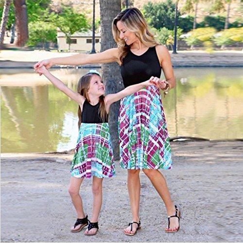 MCYs Mutter und Tochter Baby Kinder Kind Mädchen Print Sommerkleid ärmelloses Blumen Kleid Familie kleid Strandkleid Minikeid (4Jahre, Tochter) -