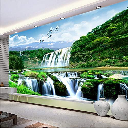 Anpassbare Fototapete Wasser Berg Wasserfall Naturlandschaft 3D Fototapete Wohnzimmer Hintergrund Wand Seide 300 (B) X210 (H) Cm - Seide Lösung
