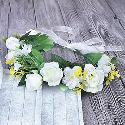 Couronne de fleurs couronne de cheveux accessoires de cheveux coiffe de couronne de rotin vacances de plage de bord de la mer accessoires de cheveux occasionnels taille réglable de style de forêt
