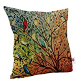 NunubeeCotton Pillowcase Decorative Pillow Cover Sofa Cushion Cover Colorful Birds For Sofa