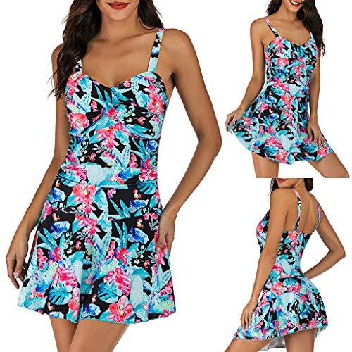 QIMANZI Schwimmanzug Damen Übergröße Drucken Tankini Badeanzug Strandkleidung Gestreifte Badebekleidung Surfanzug(Blau,XL)