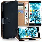 moex Huawei Honor 6X | Hülle Schwarz mit Karten-Fach 360° Book Klapp-Hülle Handytasche Kunst-Leder Handyhülle für Honor 6X / Huawei GR5 (2017) / Mate 9 Lite Case Flip Cover Schutzhülle Tasche