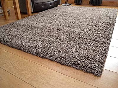 Shaggy Thick Modern Luxurious Taupe Dark Tan Rug High Pile Long Pile Soft Pile Anti Shedding Available in 8 Sizes - cheap UK light shop.