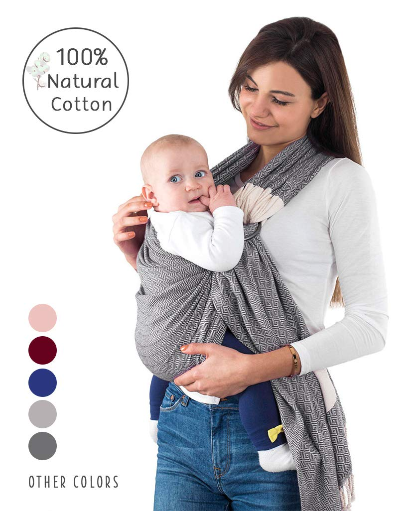 Handwoven Baby Ring Sling Carrier - 100% Natural Cotton, Extra Soft, Eco-Friendly, Sling Wrap Carrier - Lightweight Sling for Newborn, Infant, Toddler, Best Baby Shower Gift, Nursing Cover (Grey) Fringe Home SIZE: 86 x 203cm. Standart size fits for every size mother and father. SAFETY CERTIFICATIONS: Our Ring Slings are compliant with Consumer Product Safety Improvement Act (CPSIA) and American Society for Testing and Materials (ASTM). BONDING & COMFORTABLE SLING: Creates a natural heartfelt bond between you and your little one. Comfortable posture position makes your little one easier to go sleep. Adjustable Ring Sling fits for every size mother and father. Elastic band sewn on shoulder and bottom end to ensure holding baby safer. 1