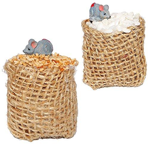 2 Stück _ Getreide Säcke mit Maus / Ratte - Miniatur - Maßstab 1:12 - Mehlsack - Diorama für Puppenstube Puppenhaus / Zubehör - Küche - Eisenbahn Platte - Bauernhof - Mäuse - Getreidesack / Mehl & Reis - Gerste - alte Mühle (Mini-maus-flaschen)