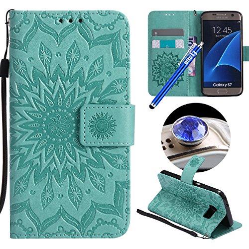 Etsue Kompatibel mit Samsung Galaxy S7 Handyhülle Blumen Handytasche Brieftasche Hülle Bookstyle Schutzhülle Mandala Blumen Leder Hülle Flip Case Cover Ledertasche Kartenfach Magnetverschluss,Grün