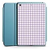 Apple iPad Mini 4 Smart Case hellblau Hülle Tasche mit Ständer Smart Cover Karomuster Flieder Lila