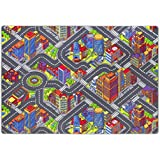 Kinderteppich Game City einer der beliebtesten Spielteppiche mit Straßenmotiv sorgt für viel Spaß für Jungen und Mädchen, in diversen Größen erhältlich, Größe:140 x 200 cm