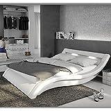 Muebles Bonitos – Cama de diseño modelo Atenas en color Blanco 135x190cm Con LED