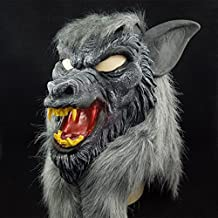 WKAIJCA Halloween Máscara Terror Diablo Maquillaje Baile Accesorios Juego Completo De Cabeza Cabeza De Lobo Con Dientes