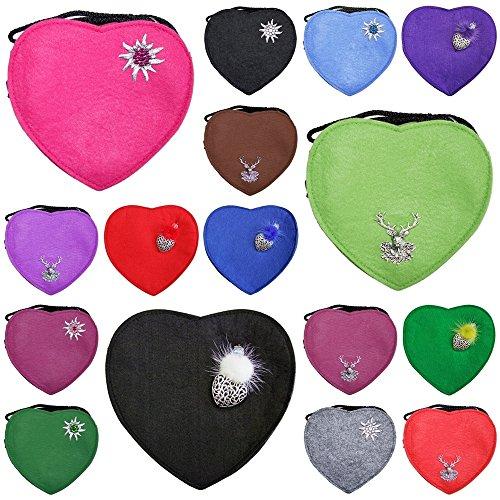 Herz Trachtentasche mit Edelweiß Schwarz -