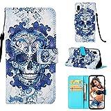 CoverKingz Handy Hülle für Samsung Galaxy A40 Flip Case, Handyhülle Cover, Schutzhülle mit Kartenfach, Handytasche Motiv Totenkopf Blau