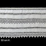 Hossner Scheibengardine Spinnenblüten 50 cm hoch | Breite der Gardine durch gekaufte Menge in 4,5 cm Schritten wählbar (Anfertigung nach Maß) | weiß | Vorhang Küche Wohnzimmer