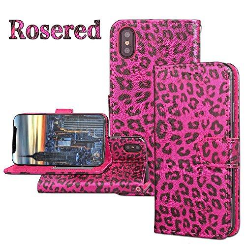 JIALUN-étui pour téléphone Housse horizontale Flip Stand Leopard Texture Housse en cuir PU Pretection pleine corps Housse TPU avec embouts pour cartes et fermeture magnétique pour iPhone 8 ( Color : R Rose