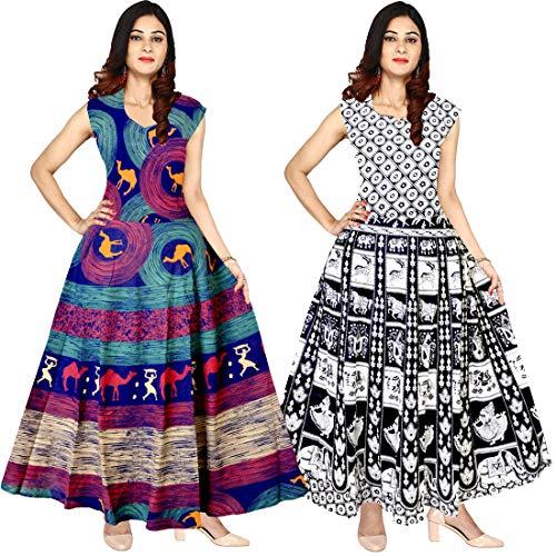 Mudrika Women\'s Long Midi Dress Jaipuri Animal Print Cotton Maxi Multicolor, up to XXL,Free Size (Pack of 2 pcs)