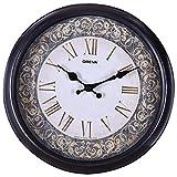 Oreva Ajanta Quartz Round Plastic Wall Clock (30.5 cm X 4 cm X 30.5 cm, Goldsil Silver)