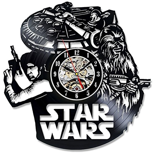 Tayohy Wanduhr Star Wars Vinyl-Schallplatte Schwarz Weinlese Leise Quarz Inneneinrichtung Wohnzimmer Kinderzimmer Uhren, 001 (Vinyl-wohnzimmer)