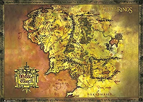 Lord of the Rings–Classic Map–Carte Giant Poster XXL–Taille 140x 100cm