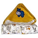 Beautiq Baby Collections Multipurpose Baby Hooded Wrapper,Towel,Blanket,Swaddle Cloth - Pure Cotton for Baby's Care