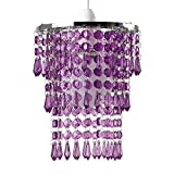 Beautiful Modern Chrome Chandelier Pendant Shade With Stunning Purple Acrylic Jewel Droplets