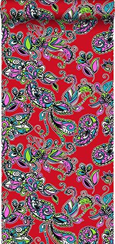 Tapete funky Blumen und Paisleys Multicolor - 136841 - von ESTAhome.nl Funky Multi Color