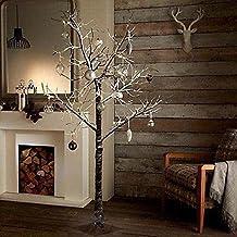 Árbol de Navidad para interiores y exteriores, con efecto de nieve, árbol marrón (180cm, color blanco cálido)