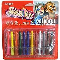 Kit pittura viso per bambini 12colori atossici cosmetico professionale grado rotante Crayon corpo umano pigmenti pittura a olio pastello
