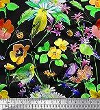 Soimoi Gelb Samt Stoff Blätter, Blumen & Robin Vogel Stoff