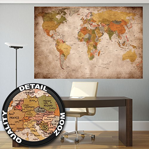 Weltkarte Wanddekoration Vintage - Wandbild Retro Motiv XXL Poster worldmap by GREAT ART (140 x 100 cm) - 3