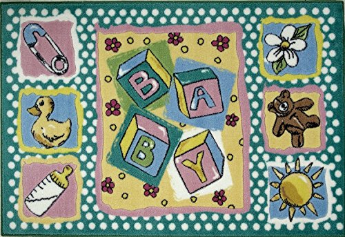 rugs 4 less Baby Kinderzimmer und Kinder Room Bereich Teppich mit Baby Blocks, Teddybär, und Dusche Ente 99,1x 147,3cm - Nylon-ente